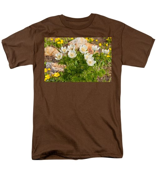 Men's T-Shirt  (Regular Fit) featuring the photograph Western Pasqueflower And Buttercups Blooming In A Meadow by Jeff Goulden