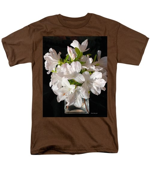White Azalea Bouquet In Glass Vase Men's T-Shirt  (Regular Fit) by Connie Fox