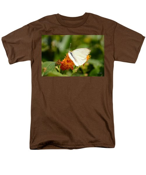 Men's T-Shirt  (Regular Fit) featuring the photograph White Butterfly On Mexican Flame by Debra Martz