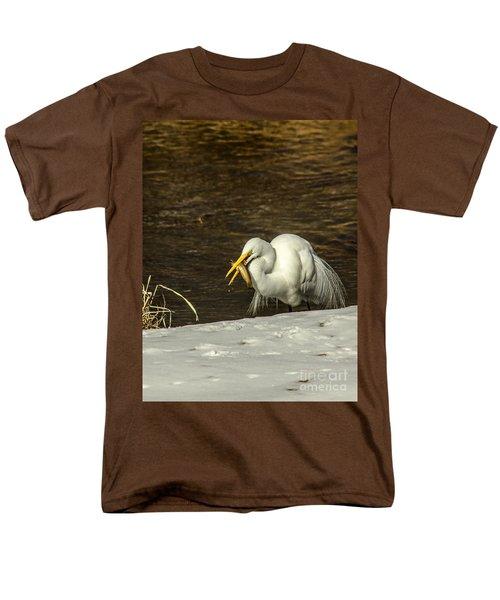 White Egret Snowy Bank Men's T-Shirt  (Regular Fit) by Robert Frederick