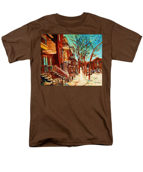 Men's T-Shirt  (Regular Fit) featuring the painting Winter Staircase by Carole Spandau