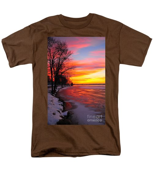 Men's T-Shirt  (Regular Fit) featuring the photograph Winter Sunrise On Lake Cadillac by Terri Gostola