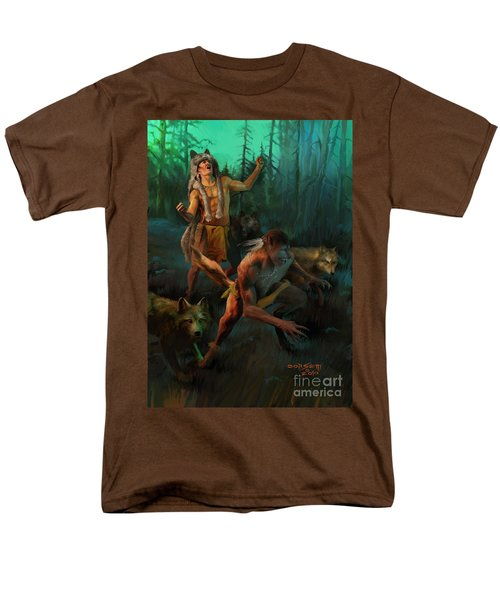 Men's T-Shirt  (Regular Fit) featuring the painting Wolf Warriors Change by Rob Corsetti