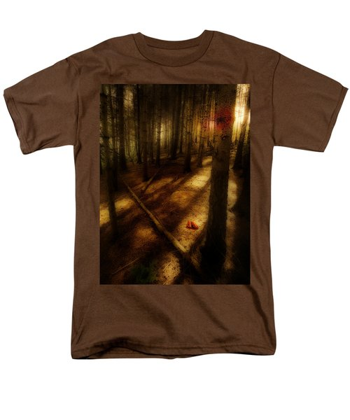 Men's T-Shirt  (Regular Fit) featuring the photograph Woods With Pine Cones by Meirion Matthias
