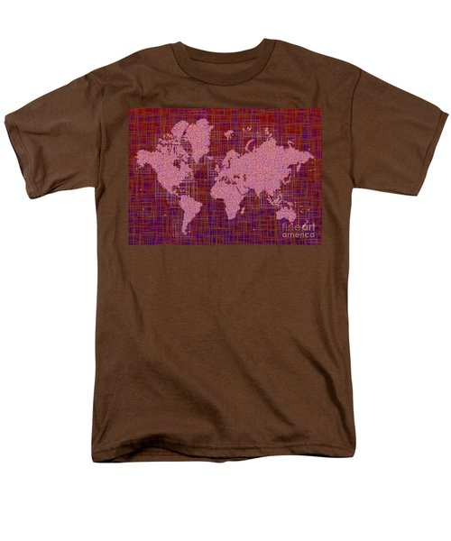 World Map Rettangoli In Pink Red And Purple Men's T-Shirt  (Regular Fit) by Eleven Corners