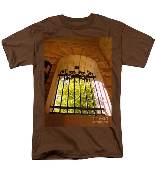 Men's T-Shirt  (Regular Fit) featuring the photograph Wrought Iron Arch Window by Becky Lupe
