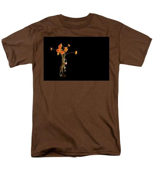 Orange Flowers On Black Background Men's T-Shirt  (Regular Fit) by Don Gradner