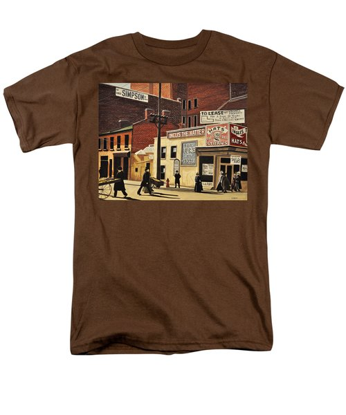 Men's T-Shirt  (Regular Fit) featuring the painting Yonge And Richmond Streets 1899 by Kenneth M  Kirsch