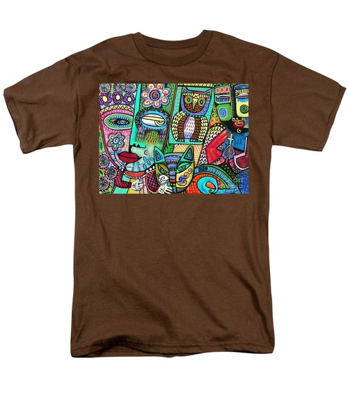 Frida's Garden Owl And Cat Men's T-Shirt  (Regular Fit) by Sandra Silberzweig