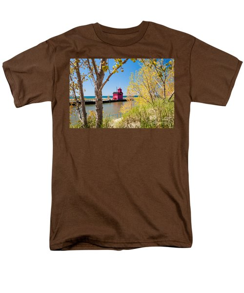 Men's T-Shirt  (Regular Fit) featuring the photograph Holland Mi Lighthouse by Larry Carr