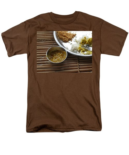 Men's T-Shirt  (Regular Fit) featuring the photograph A Typical Plate Of Indian Rajasthani Food On A Bamboo Table by Ashish Agarwal