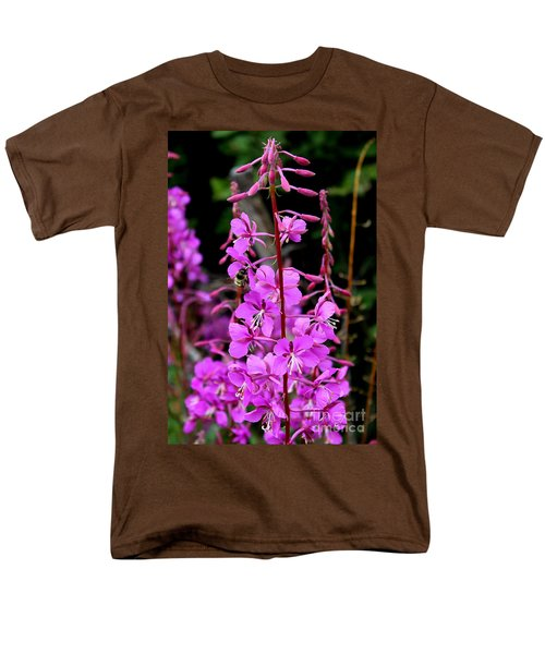 Men's T-Shirt  (Regular Fit) featuring the photograph Bee On Fireweed In Alaska by Kathy  White