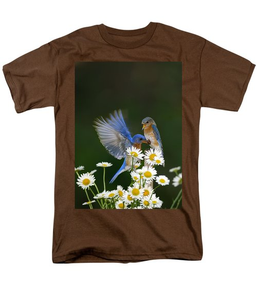 Men's T-Shirt  (Regular Fit) featuring the photograph Bluebirds Picnicking In The Daisies by Randall Branham