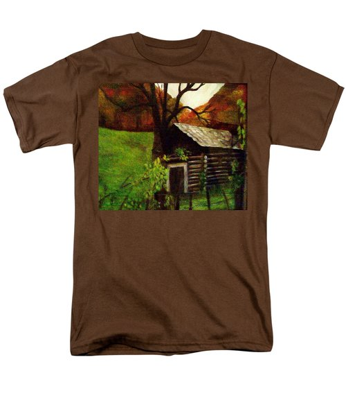 Men's T-Shirt  (Regular Fit) featuring the painting Cabin By A Hillside by Christy Saunders Church