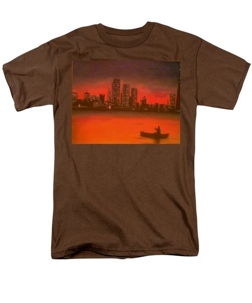 Canoe By The City Men's T-Shirt  (Regular Fit) by Christy Saunders Church