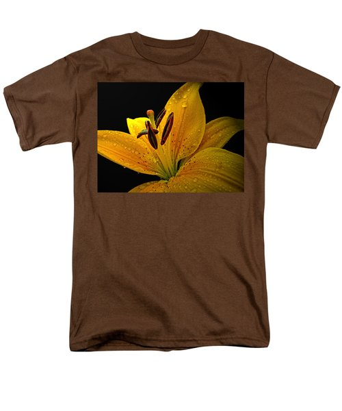 Men's T-Shirt  (Regular Fit) featuring the photograph Dew On The Daylily by Debbie Portwood