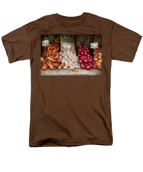 Food - Vegetable - Sweet Potatoes-garlic- And Onions - Yum  Men's T-Shirt  (Regular Fit) by Mike Savad