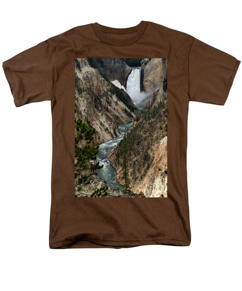 Men's T-Shirt  (Regular Fit) featuring the photograph Lower Falls And Yellowstone River by Living Color Photography Lorraine Lynch
