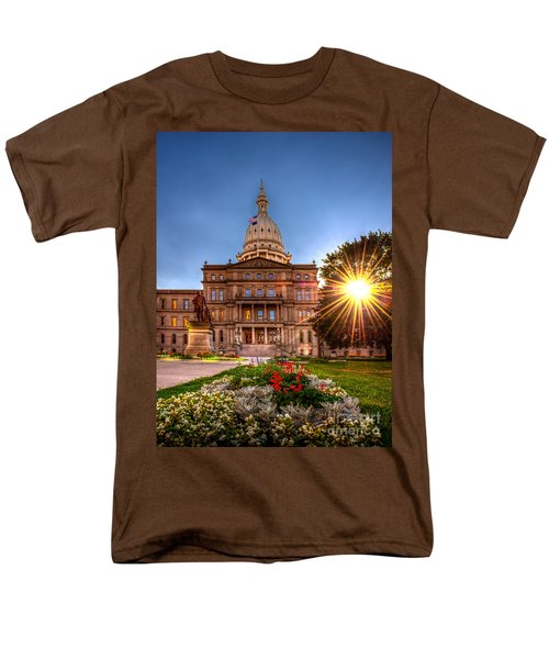 Men's T-Shirt  (Regular Fit) featuring the photograph Michigan Capitol - Hdr - 2 by Larry Carr
