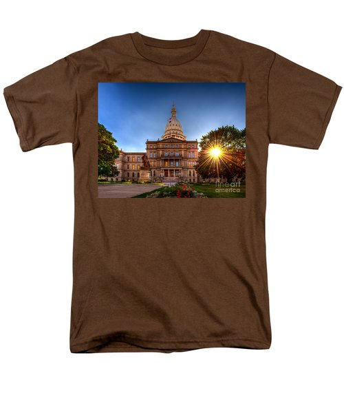 Men's T-Shirt  (Regular Fit) featuring the photograph Michigan Capitol - Hdr-1 by Larry Carr