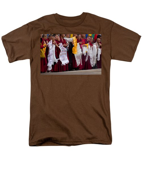 Men's T-Shirt  (Regular Fit) featuring the photograph Monks Wait For The Dalai Lama by Don Schwartz