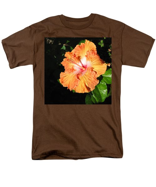 Men's T-Shirt  (Regular Fit) featuring the photograph Orange Hibiscus After The Rain 1 by Connie Fox