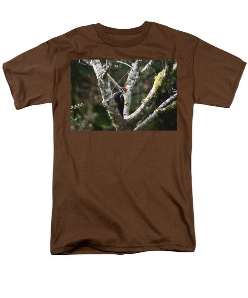 Men's T-Shirt  (Regular Fit) featuring the photograph Pileated Woodpecker In Cherry Tree by Kym Backland
