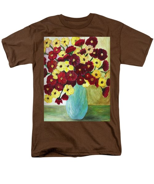 Red And Yellow Bouquet In Blue Men's T-Shirt  (Regular Fit) by Christy Saunders Church