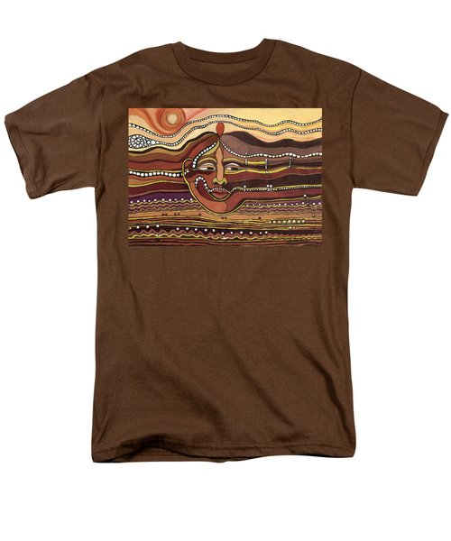Red Aztec Face In Nature Landscape Abstract Fantasy With Earth Colors Sunset And Skyline Men's T-Shirt  (Regular Fit) by Rachel Hershkovitz