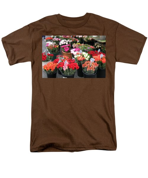 Men's T-Shirt  (Regular Fit) featuring the photograph Red Flowers In French Flower Market by Carla Parris