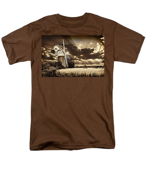 Men's T-Shirt  (Regular Fit) featuring the photograph Sepia Sky Windmill by Meirion Matthias