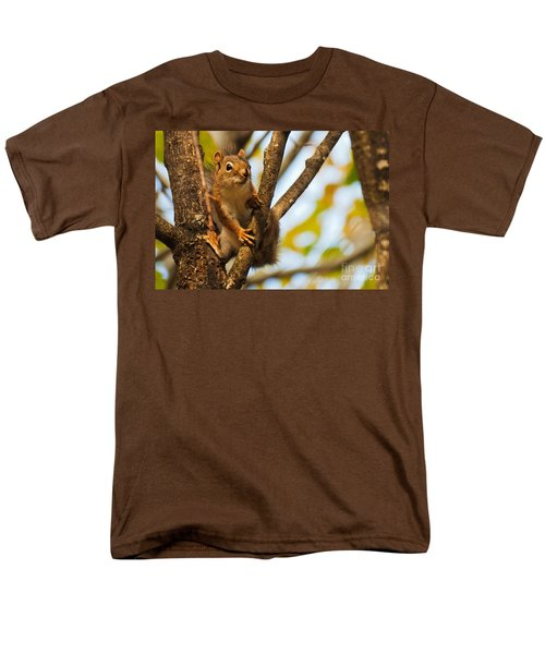 Men's T-Shirt  (Regular Fit) featuring the photograph Squirrel On High by Cheryl Baxter