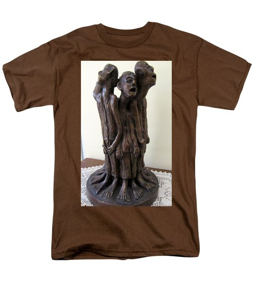 Suffering Circle In Bronze Sculpture Men In Rugs Standing In A Circle With Suffering Faces Crying  Men's T-Shirt  (Regular Fit) by Rachel Hershkovitz