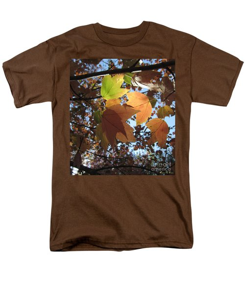 Men's T-Shirt  (Regular Fit) featuring the photograph Sun-lite Fall Leaves by Donna Brown