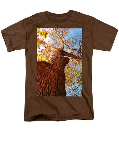 Men's T-Shirt  (Regular Fit) featuring the photograph The Deer  Autumn Leaves Tree by Peggy Franz