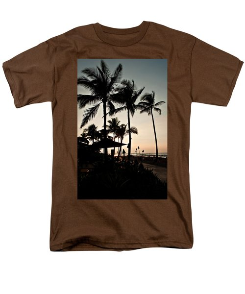 Men's T-Shirt  (Regular Fit) featuring the photograph Tropical Island Silhouette Beach Sunset by Valerie Garner