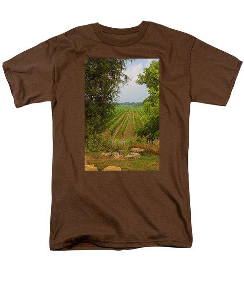 Men's T-Shirt  (Regular Fit) featuring the photograph Vineyard On The Bench by John Stuart Webbstock