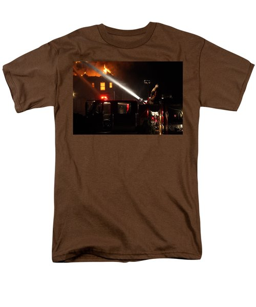 Men's T-Shirt  (Regular Fit) featuring the photograph Water On The Fire From Pumper Truck by Daniel Reed