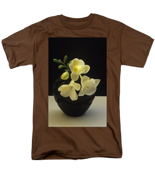 White Freesias In Black Vase Men's T-Shirt  (Regular Fit) by Susan Rovira