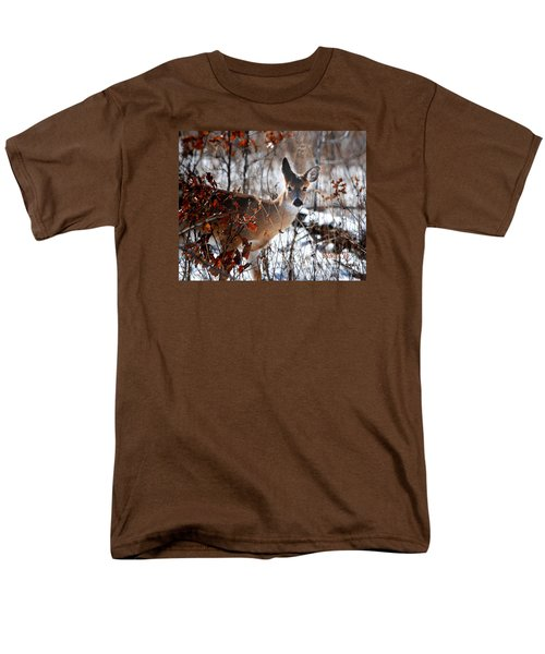Whitetail Deer In Snow Men's T-Shirt  (Regular Fit) by Nava Thompson
