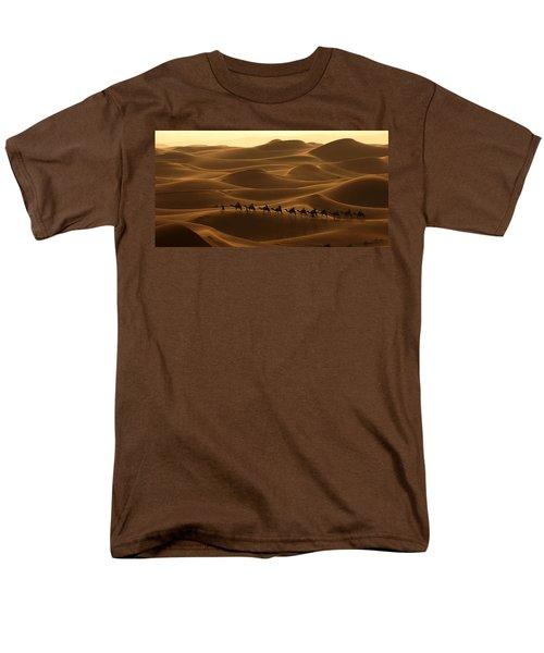 Camel Caravan In The Erg Chebbi Southern Morocco Men's T-Shirt  (Regular Fit) by Ralph A  Ledergerber-Photography