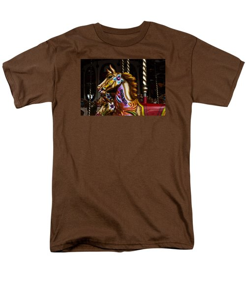 Men's T-Shirt  (Regular Fit) featuring the photograph Carousel Horses by Steve Purnell
