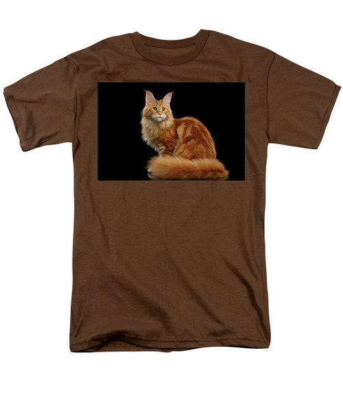 Ginger Maine Coon Cat Isolated On Black Background Men's T-Shirt  (Regular Fit) by Sergey Taran