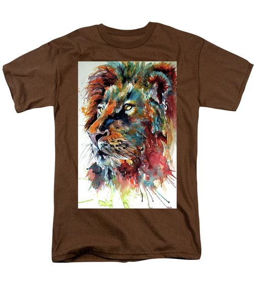Men's T-Shirt  (Regular Fit) featuring the painting Lion by Kovacs Anna Brigitta