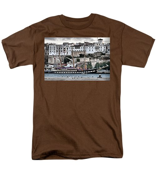 Old Port Mahon And Italian Sail Training Vessel Palinuro Hdr Men's T-Shirt  (Regular Fit)