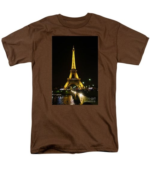 The Eiffel Tower At Night Illuminated, Paris, France. Men's T-Shirt  (Regular Fit) by Perry Van Munster
