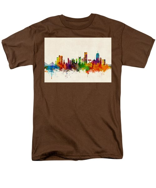 Boston Massachusetts Skyline Men's T-Shirt  (Regular Fit) by Michael Tompsett