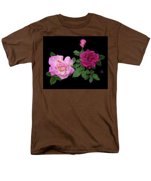 3 Pink Roses Cutout Men's T-Shirt  (Regular Fit) by Shirley Heyn