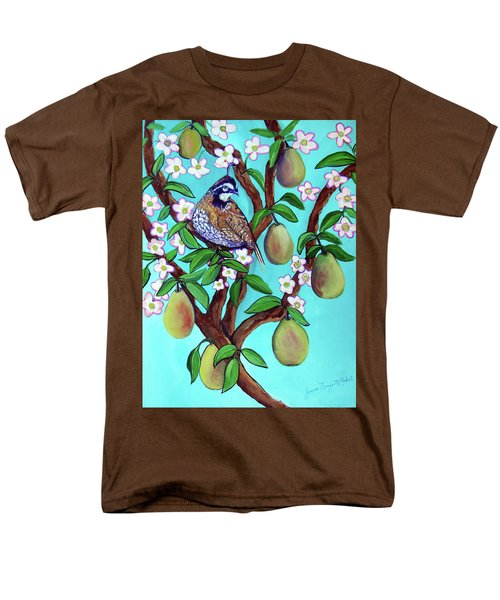 Men's T-Shirt  (Regular Fit) featuring the painting A Partridge In A  Blooming Pear Tree by Ecinja Art Works