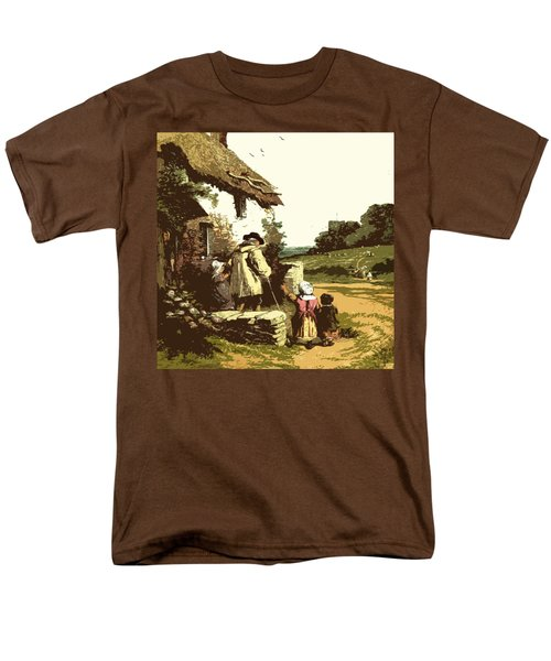 Men's T-Shirt  (Regular Fit) featuring the drawing A Walk With The Grand Kids by Digital Art Cafe